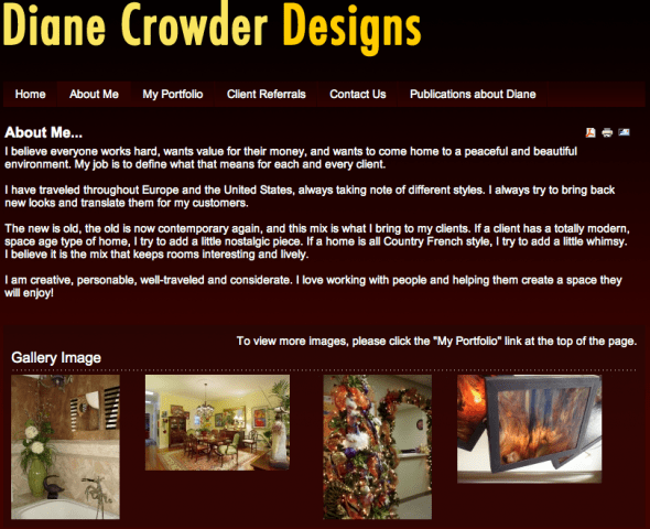 Diane Crowder Designs is a new site from Web-Jive