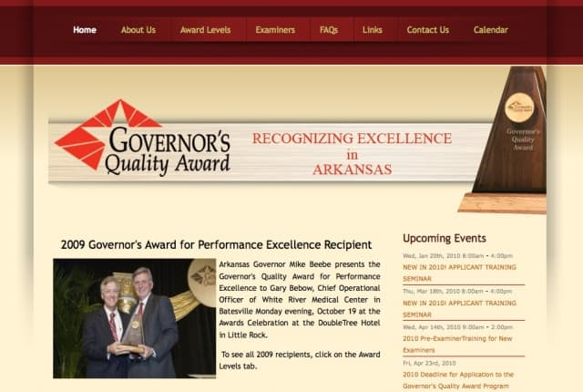 Governor's Quality Award gets Quality Website!